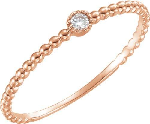 14kt Rose 0,03ctw Diamanten Perle Design Ring Größe 7
