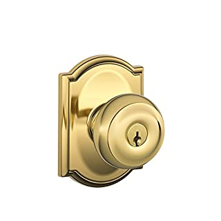 Schlage F51A-GEO-605-CAM Bright Brass Keyed Entry Georgian Style Knob with Camelot Rose