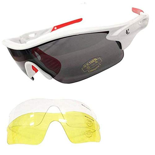 Velochampion warp cycling running sports sunglasses - (with 3 lens: inc smoked, clear) (white frame with red nose and re