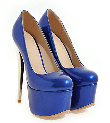 Aisun Damen Sexy High Heels Lackleder Runde Zehen Plateau Pumps Blau