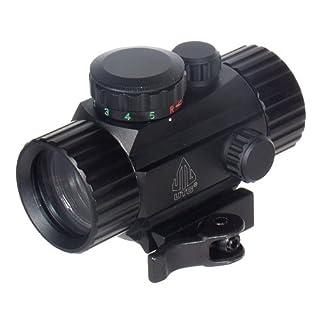 UTG Leuchtpunktvisier 4 Zoll Compact Ita Rot/Gün Circle Dot Sight mit Integrierter Schnellverschluss Picatinny Montage, Schwarz, SCP-RG40CDQ
