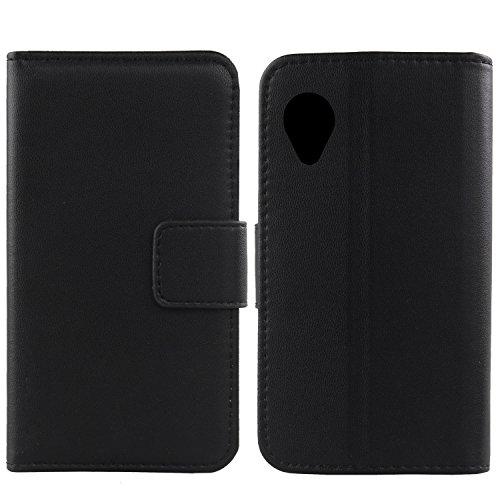 Gukas Design Echt Leder Tasche Für LG Google Nexus 5 D820 E980 Hülle Handy Flip Brieftasche mit Kartenfächer Schutz Protektiv Genuine Premium Case Cover Etui Skin (Schwarz)
