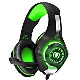 BlueFire Cuffie Gaming per Xbox One, Cuffie da Gioco con 3.5mm Jack LED e Microfono Insonorizzato,Bass Stereo Audio Surround Cuffie da Gaming per PS4/Xbox One S/Nintendo Switch/PC/Laptop(Verde)