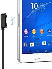 OKCS Magnet Ladekabel USB Sony Xperia Z1, Z1 Compact, Z2, Z2 Tablet, Z3, Z3 Compact, Z3 Tablet Compact, Z4 Tablet Compact - 1 Meter in Schwarz