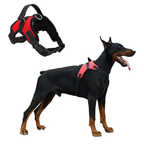 Mr.Dog No-Pull Hunde Sicherheitsweste /Hundegeschirr für Große Hunde, Hundehalsband Leuchtend Schwarz 40-74cm
