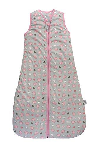 Preisvergleich Produktbild Schlummersack Ganzjahres Kinderschlafsack Mädchen gefütter in 2.5 Tog - Elefeanten Pink/Grau - 130 cm / 3-6 Jahre