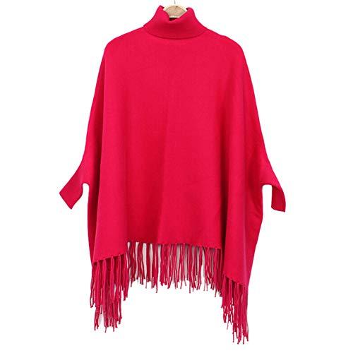 Asudaro Damen Frauen Poncho Cape Winter Warm Kaschmirschal Pullover Oberteil Quaste Umhängetuch und Tunika mit Fledermaus Ärmel Mantel Sweatshirt Rose