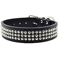 [Gesponsert]Hundehalsband aus PU Leder mit Pilz Nieten, 4cm Breit 39-59cm verstellbar, für große Hunde, Rot Pink Schwarz zum Wählen, Schwarz XXL