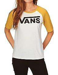 Camiseta Raglan para mujer Vans Timeless Half Blanco Sand-oroen Glow