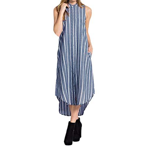 öße Baumwolle Leinen Kleid Top Frauen Casual V-Ausschnitt Kurzarm Solide Knielangen Split Hem Kleider Damen Casual Lose Maxikleider(M-L3)(Blau,Small) ()
