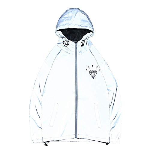 LXD Herren Reflect Jacke Visible Running und Biking Jacke für Radfahren Laufen Walking Langarm Hoodie Casual Hiphop Windbreaker Night Sporting Coat,Fotofarbe,X-Large -