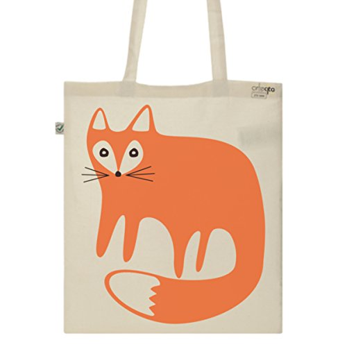 Tote Bag Imprimé Ecru - Toile en coton bio - Renard Orange