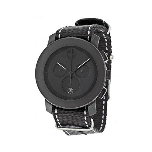 Movado Bold Unisex Chronographe Bracelet Tissu Noir Boitier Acier Inoxydable Quartz Date Montre 3600308