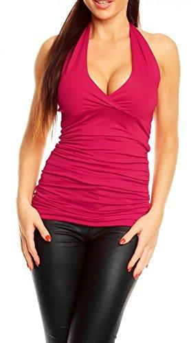 Glamour Empire Donna Top allacciato al collo con schiena scoperta t-shirt 167 Lampone