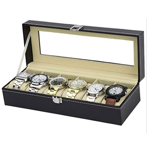 XGG Uhrenbox, Uhrenbox aus Leder, Schmuckständer mit Glasauflage und Aufbewahrungskissen zum Entfernen, schwarz (6 Gitter)