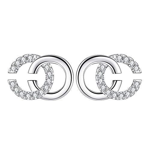 NIMUIL Damen 925 Silber Ohrringe Initiale Alphabet Doppel C Ohrstecker mit 5A Zirkonia, Hübschen Geschenk Box Verpackt