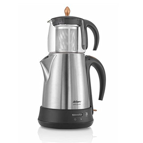 Arzum Elektrische Moderne Teemaschine Frischer-Tee Wasserkocher Glaskanne 1650W, Farbe:Silber