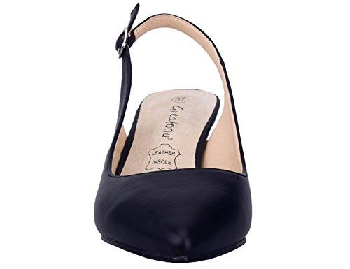 Greatonu Chaussures Femme Escarpins Sandales Suédé Mi Talon EU 36-41 Noir Vernis