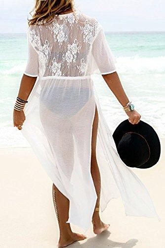 Damen Sexy Weiß Chiffon Kimono Sleeves Hohe Slits Bademode Badeanzug Weiß