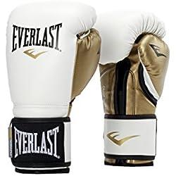 Everlast Powerlock Training Guantes, Unisex, Blanco y Dorado, 12 Onzas