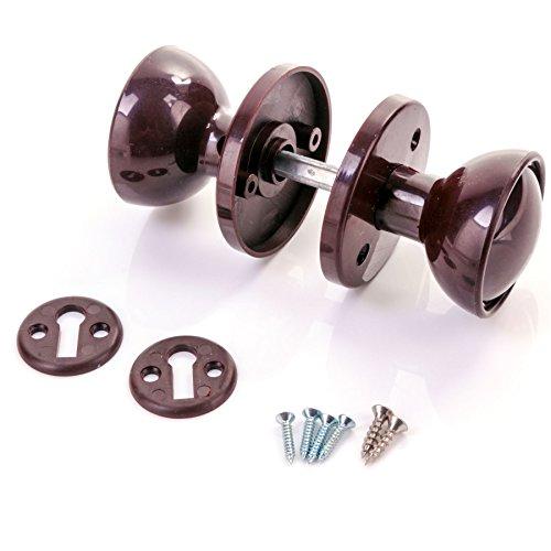 60mm Kunststoff braun Türknauf Set-Tür/Schuppen/Gate/Garage Lock Griff (Tür-hardware Garage)