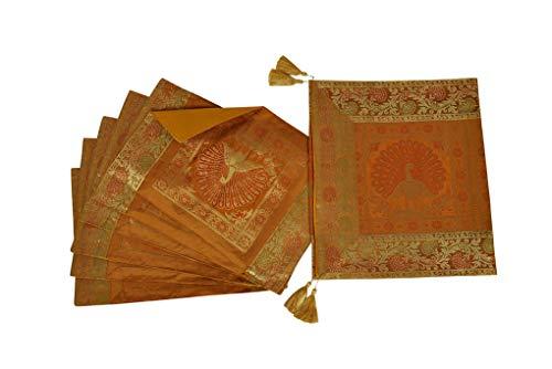 Lalhaveli Tischläufer für Wohnzimmer, Dekoration, Seide, Pfauen-Design, Goldfarben, mit 6 Platzdeckchen
