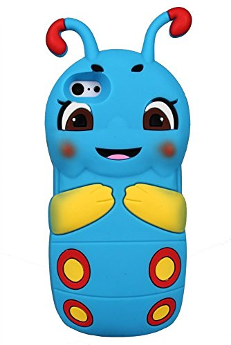 Cartoon Animal Caterpillar Soft en caoutchouc de silicone cas 3D pour iPhone 6, 6s (vert) © Sloth Cases Blue