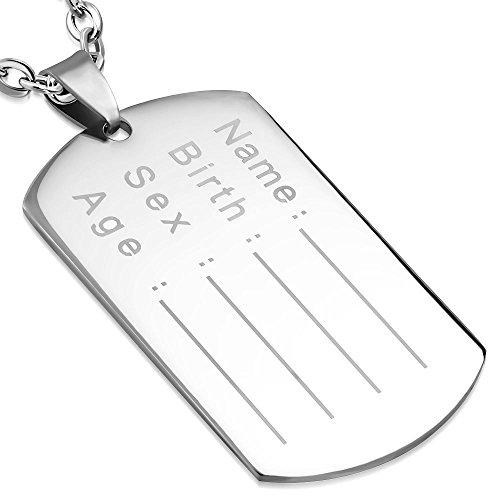 Bungsa® DogTag Army Pendant Gravierbar Silber Edelstahl (Kettenanhänger Pendant Anhänger Navy ID-Marke Erkennungsmarke Amulett Medaillon Charm Beads Chirurgenstahl Damen Herren Schmuck)