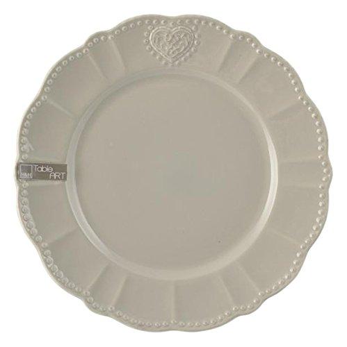 H&H Assiette plate rond, céramique, gris chaud, 26 x 25 x 3 cm
