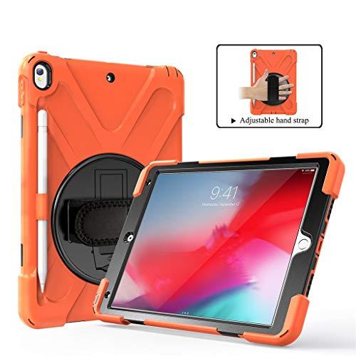 Huhu833 Hülle kompatibel mit iPad Air 3, 2019 10.5 Zoll Fall Heavy Duty Hybrid Smart Case Cover stoßfest rotierenden mit Ständefür iPad Air (Orange) - Handschlaufe Air Ipad
