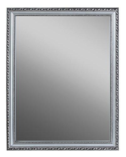 Spiegel Wandspiegel Flurspiegel | B 34 x H 45 cm | Holzrahmen gemustert | Silberfarben