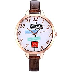 JSDDE Women's Slim Brown Leather Band Rose Gold Case Indicator Wrist Watch Casual