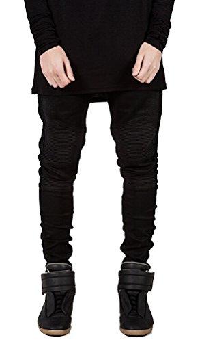 Ghope Homme Denim protection Moto Biker Pantalons Jeans Cargo renforcé avec protection Jean Trouser Straight Fit Noir