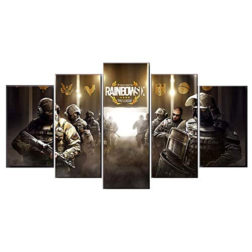 XLST 5 Panels Wandbilder Tom Clancy's Rainbow Six Siege Game Druckt Leinwand Artwork für Heimtextilien,B,20x35x2+20x45x2+20x55x1 2 X 20 Panel