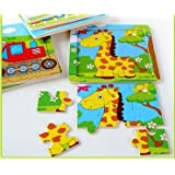 Tickles Animal Cartoon 9 Pieces Of A Pattern Wood Puzzles Wooden Jigsaw Board (Set Of 12 Puzzles)