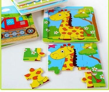 Tickles Animal cartoon 9 pieces of a pattern wood puzzles...