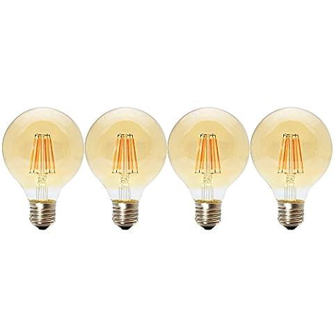 4 Pack 6W E27 Nicht Dimmbar LED Edison Lampe G80 Globe Vintage Filament Globusform Glühbirne Deko Retro Birne 2200K mit Braunglas ,Ideal für Nostalgie und Antik Beleuchtung