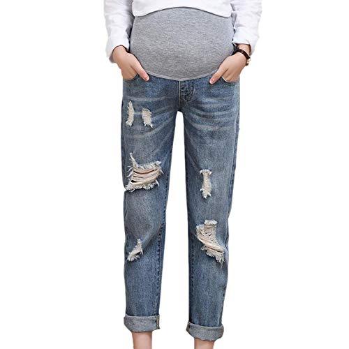 Oneforus maternità cintura regolabile da esterno infermieristica addome casual sottile buco rotto jeans donna in gravidanza pantaloni denim