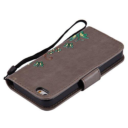 iPhone 6sPlus Lederhülle, iPhone 6Plus Handytasche, CLTPY Ständer Folio Brieftasche Luxus Malereifarbig Schutzfall mit Karteneinschub & Magnetverschluß, Premium PU Leather Case für Apple iPhone 6Plus/ Grau 1