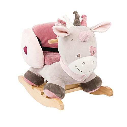 *Nattou 987301 Nina, Jade und Lili – Schaukeltier ab 1 Jahr mit Gurt für Mädchen, Schaukeleinhorn, Jade der Einhorn, rosa*