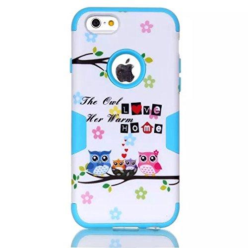 iPhone 6s Case, iPhone 6 cas, Hard Case Lantier hybride Heavy Duty avec disque Rugged PC + Inside Shell Silicone Cover antichoc pour Apple iPhone 6 / 6S 4,7 pouces (Love Accueil Owl Noir) Love Home Owl Blue