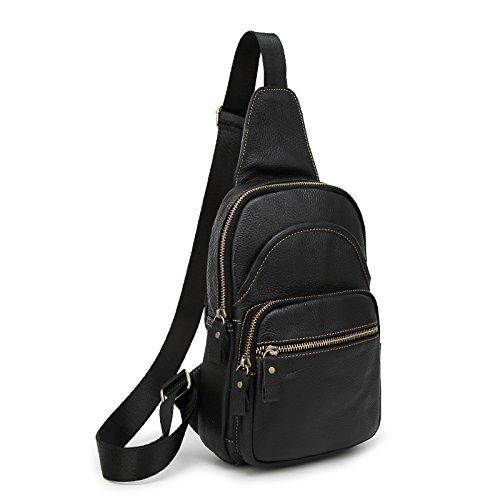 Sifini mini in vera pelle borsa a tracolla sport petto borsa multiuso Daypacks, Coffee Black