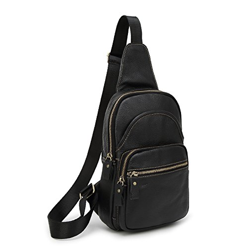 sifini Mini Echt Leder Sling Bag Sport Brust Tasche Mehrzweck Daypacks Schwarz