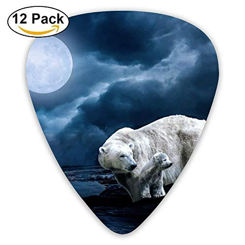 Polar Bears Night Moon Navy Blue Guitar Pick 12pack -