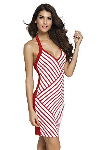 Loveours Streifen Neckholder Kleider Minikleid Netz Rückenfrei Rot und Weiß