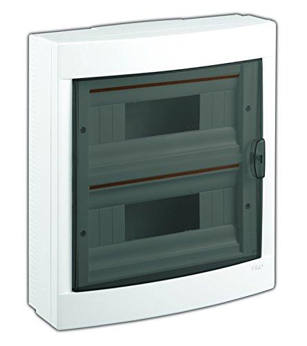Preisvergleich Produktbild Aufputz Kleinverteiler 24 Module / Sicherungskasten / Verteilerkasten Aufputz IP40, 2-reihig mit Hutschiene + PE/N Klemmen
