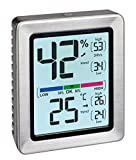 TFA-Dostmann EXACTO 30.5047.54 Thermomètre hygromètre numérique Argenté 74 x 26 x...