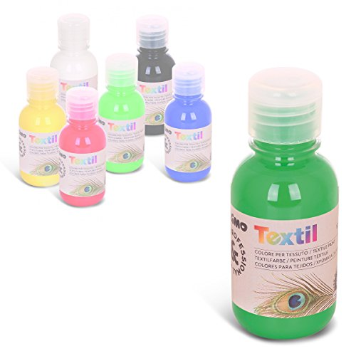 Primo permanente Textilfarbe,125 ml, für Kinder geeignet, Flasche mit Dosierverschluss, Airbrush/Spray -fähig (grün) (Airbrush Kleidung)