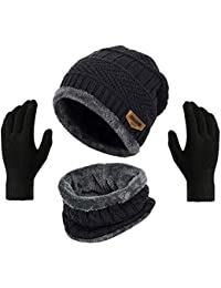 HUNTSMANS ERA Winter Knit Beanie Cap Hat Neck Warmer Scarf and Woolen Gloves Set Skull Cap for Men Women/Winter Cap for Men (3 Piece)