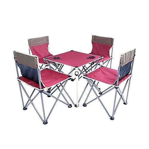 COKECO Outdoor Tragbarer Klapptisch Und Stuhl Set Oxford Tuch Klappstuhl Camping Tisch Kombination Draussen Picknick Angeln Stark Und Haltbar Campingtisch Und Stuhl